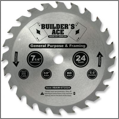 7 1/4 in. 24T General Purpose Saw Blade - Builder's Ace Series