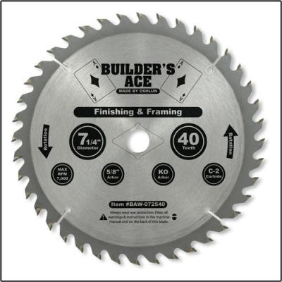 7 1/4 in. 40T General Purpose Saw Blade - Builder's Ace Series