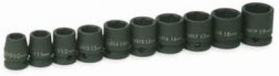 "3/8"" Drive Shallow Impact Socket Set, 10 Piece"