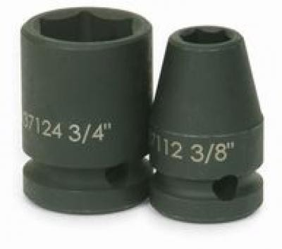 1/2 Drive Shallow Impact Socket, 6 Point, 3/8