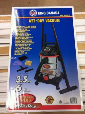 INDUSTRIAL WET/DRY VACUUM - 6 US GALLON (24 LITRE)