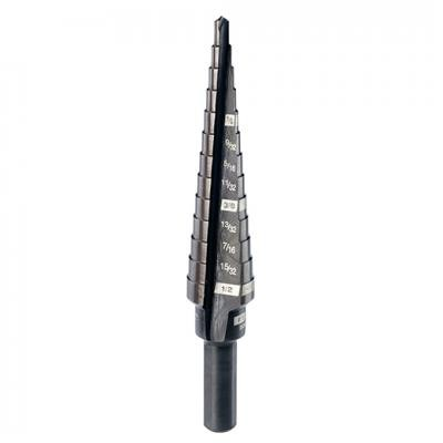 "#1 Step Drill Bit, 1/8"" - 1/2"" by 1/32"""