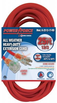 25ft. Extension Cord - Single Tap, SJTW - Red