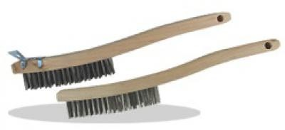 3 X 19 Curved Handle Wire Scratch Brush, Carbon Steel