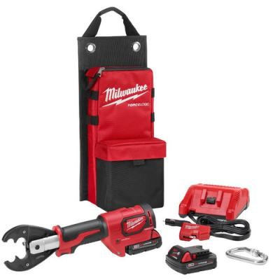 M18 Force Logic 18V 2.0 Ah Cordless Lithium-Ion 6T Utility Crimper Kit with D3 Groves and Fixed O Die