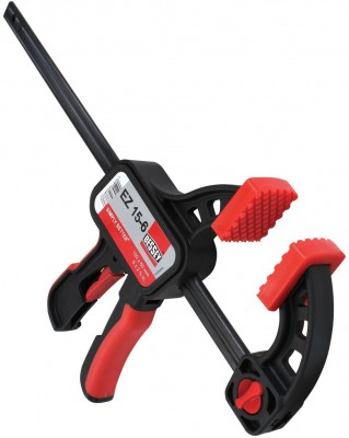"One Handed Trigger Clamp for Compressing & Spreading 6"" Capacity x 2 3/8"" Throat Depth, Red/Black"