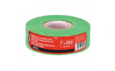 "1"" x 200' Green PVC Flagging Tape"