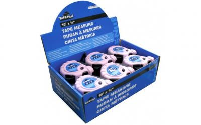 "16' x 3/4"" Rubber Jacket Tape Measure - 12 per Display Box"