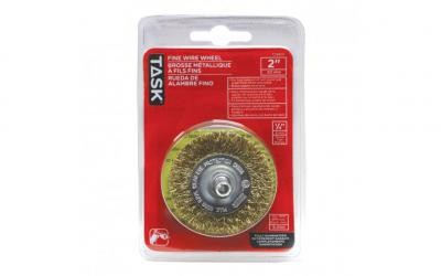 "2"" Fine Brass Coated Steel Crimp Wire Wheel - 1/pack"