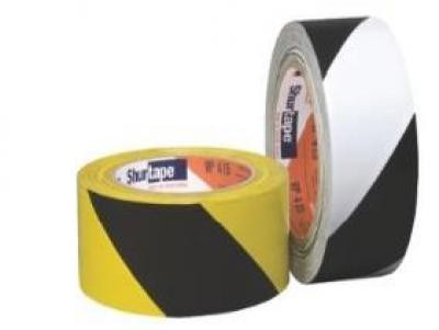 6.6mil 50 mm x 30 m SPVC Film Warning Stripe Tape VP415 Series - Black/Yellow