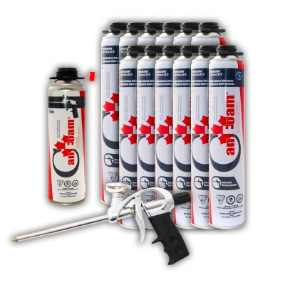 Low Expansion Insulating Foam Starter Pack (12 Foam, 1 Cleaner, 1 Applicator Gun)