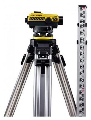 24X Automatic Optical Level Kit with Tripod, Rod, and Carrying Case