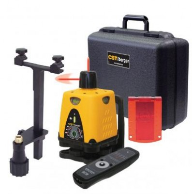 Manual-Leveling Dual Beam Rotary Laser Level with Case and Interior Accessories