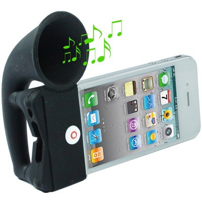 Portable Amplifier, Silicone Horn Stand Speaker for iPhone 4 & 4S / 3GS / 3G (Black)