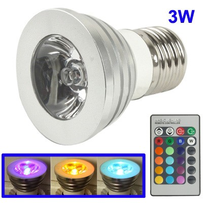 E27 3W RGB Flash LED Light Bulb with Remote Controller, AC 85-265V
